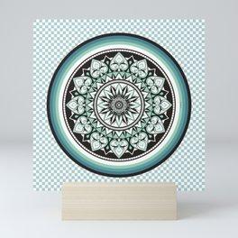 Mandala Design Sea Blue Aqua Theme Mini Art Print