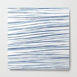 Modern blue hand drawn acrylic fashion stripes pattern Metal Print