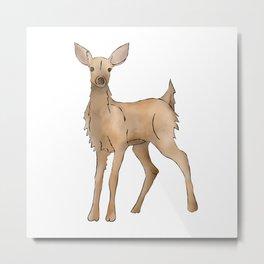 Cute Kawaii Brown Deer Watercolor Print Metal Print