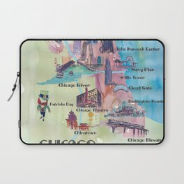Chicago Favorite Map with touristic Top Ten Highlights in Colorful Retro Style Laptop Sleeve