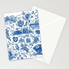 "Zelda ""Hero of Time"" Toile Pattern - Zora's Sapphire Stationery Cards"