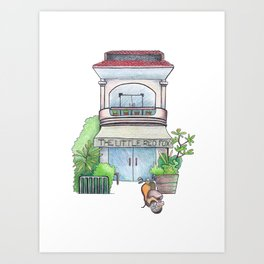 Vintage urban house front view, travel sketch from Siem Reap, Cambodia Art Print