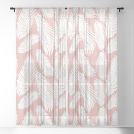 Pink Tropical Leaf Pattern Sheer Curtain