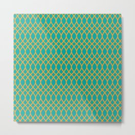 Geometric pattern midcenter green and yellow  Metal Print