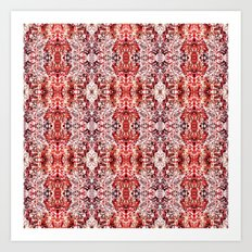 Beautiful Red Foklore Damask Pattern Art Print