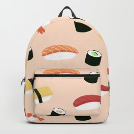 Lovely Japanes sushi drawing illustration on pastel background. Maki ands rolls with tuna, salmon, shrimp, crab. Backpack