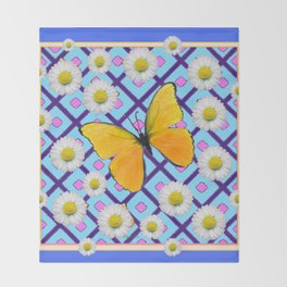 Yellow Butterfly on  Blue-pink Shasta Daisy Abstract Pattern Throw Blanket