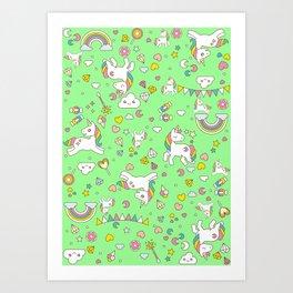 Unicorn Green Pattern Art Print