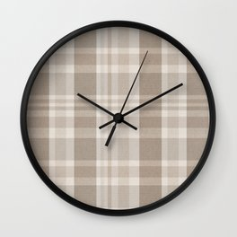 Checkered, Plaid Prints, Warm Brown Wall Clock