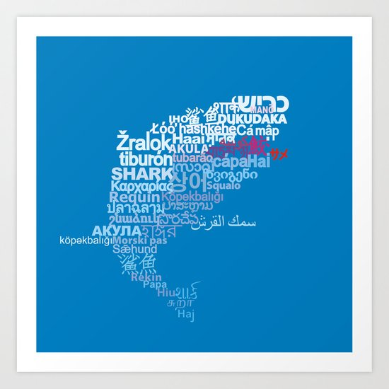 Shark in Different Languages Art Print