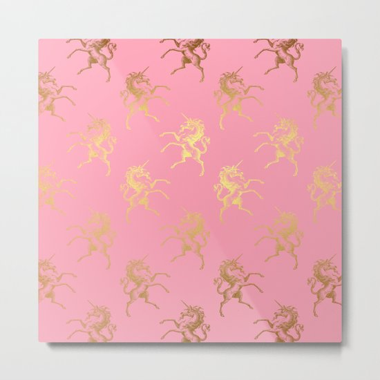 Gold elegant Unicorns on pink pattern Metal Print