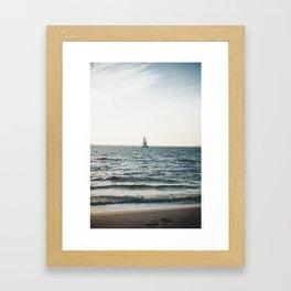 Sail boat on Bowditch Beach Framed Art Print