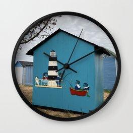 Blue beach hut Wall Clock