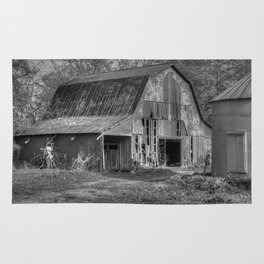 Old Barn in Black and White Rug