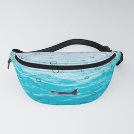 Orca Whale gliding through the water on a rainy day Fanny Pack
