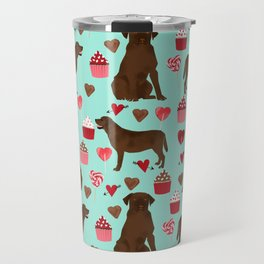 Chocolate Labrador Retriever valentines day cupcakes love hearts dog gifts labs Travel Mug