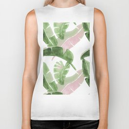 Tropical Leaves Green And Pink Biker Tank