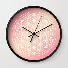 Flower of Life Mandala Pink Peach Wall Clock