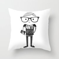 hipster Throw Pillows featuring Anti-hipster by Farnell