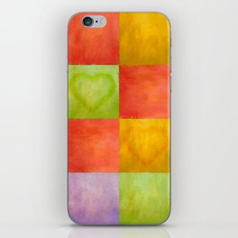 Colored Tiles with Hearts iPhone Skin