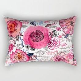 Pink Floral Mix Rectangular Pillow