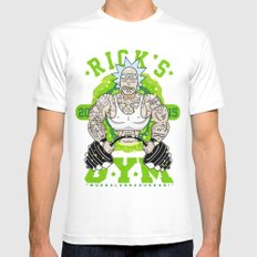 Rick`s GYM  Mens Fitted Tee LARGE White