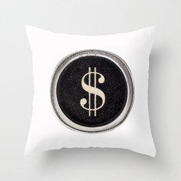 Vintage Dollar Sign Throw Pillow