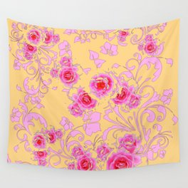 PINK-RED ROSE ABSTRACT FLORAL GARDEN ART Wall Tapestry