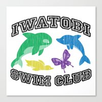iwatobi Canvas Prints featuring Iwatobi Swim Club by drawn4fans
