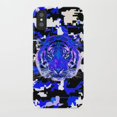 camouflage tiger on blue Slim Case iPhone X