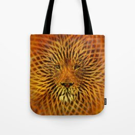 A design that incorporates zebra stripes and the face of a Lion Tote Bag