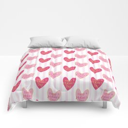 Blush pink white stripes heart mother's day typography Comforters