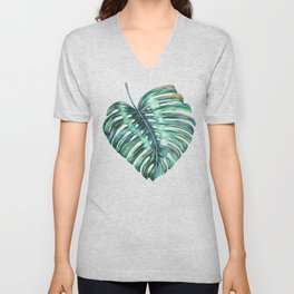 Monstera leaf green tropical watercolor Unisex V-Neck