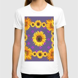 Ornamental  Puce Purple Golden Sunflowers Pattern T-shirt