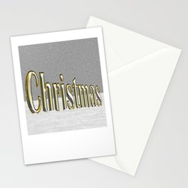 Christmas text in shiny gold Stationery Cards