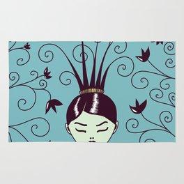 Strange Hair And Flowery Swirls Rug