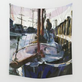 Schooner on Recovery, Bowen's Wharf, Winter 1998 Wall Tapestry