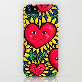 Happy Heart Flowers Sunflowers iPhone Case