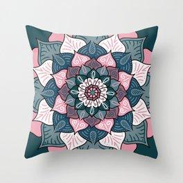 Mandala Pink and Green Monolines Throw Pillow
