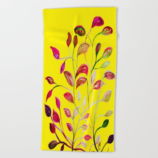 Red and Green Leaves! Yellow Sunshine! Beach Towel