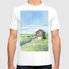 Sky and Grass Landscape Watercolor White Mens Fitted Tee MEDIUM