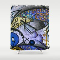 kandinsky Shower Curtains featuring Abstract I by Noelle Rousseau