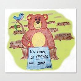 Sad bear & friend Canvas Print