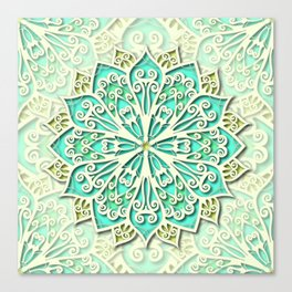 White cyan and yellow Beautiful Wedding Mandala Canvas Print