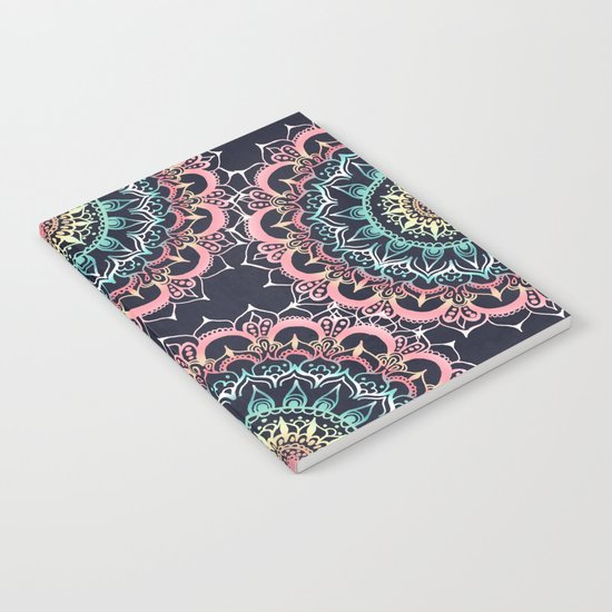 Pink, Cream & Soft Turquoise Glow Medallion on Navy Notebook