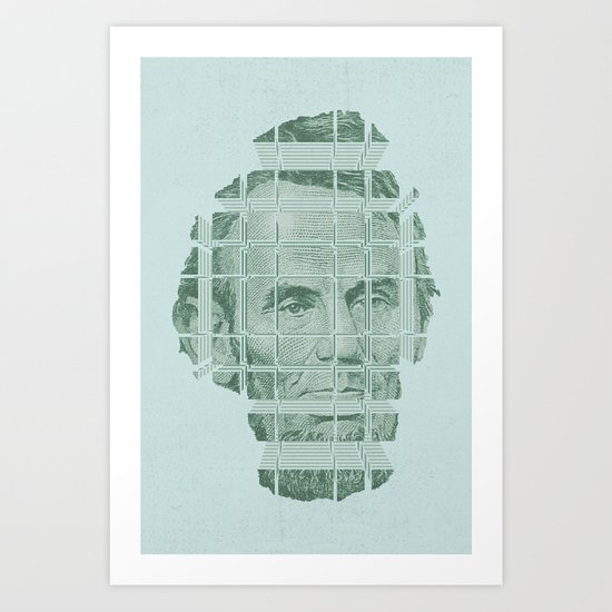 The Various Parts of Mr. Lincoln Exploding Towards the Viewer Art Print