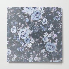 Blue FLORAL roses pattern Metal Print