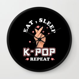 K-Pop Eat Sleep Kpop Repeat Wall Clock