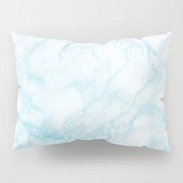 Elegant pastel blue white modern marble Pillow Sham