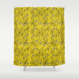 Floral Abstract Design Yellow Meadow Shower Curtain